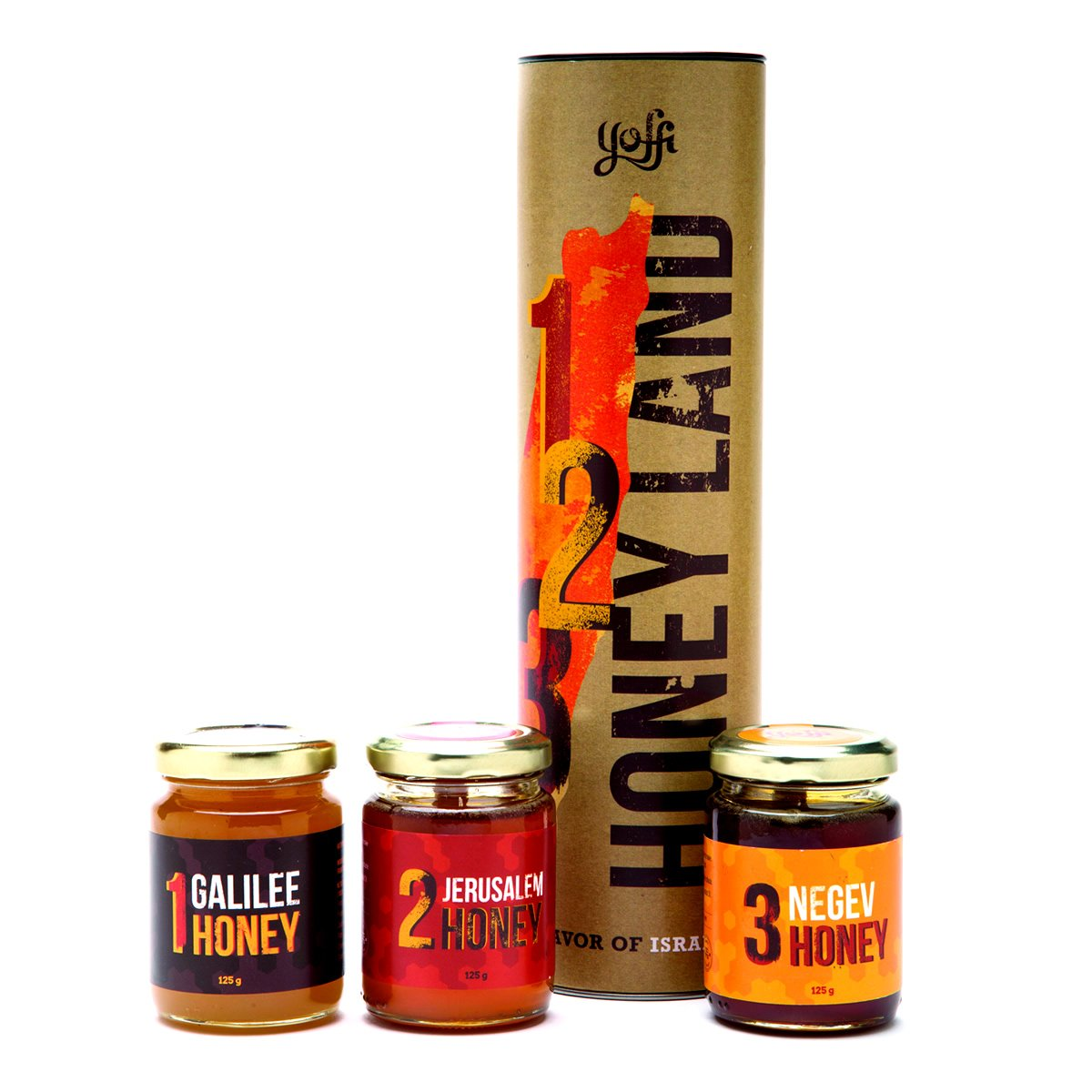 Yoffi Honeyland Set JEWISH GIFT Israeli Honey 3 Types Jerusalem Galelee and Negev 4.2 Ounce Each