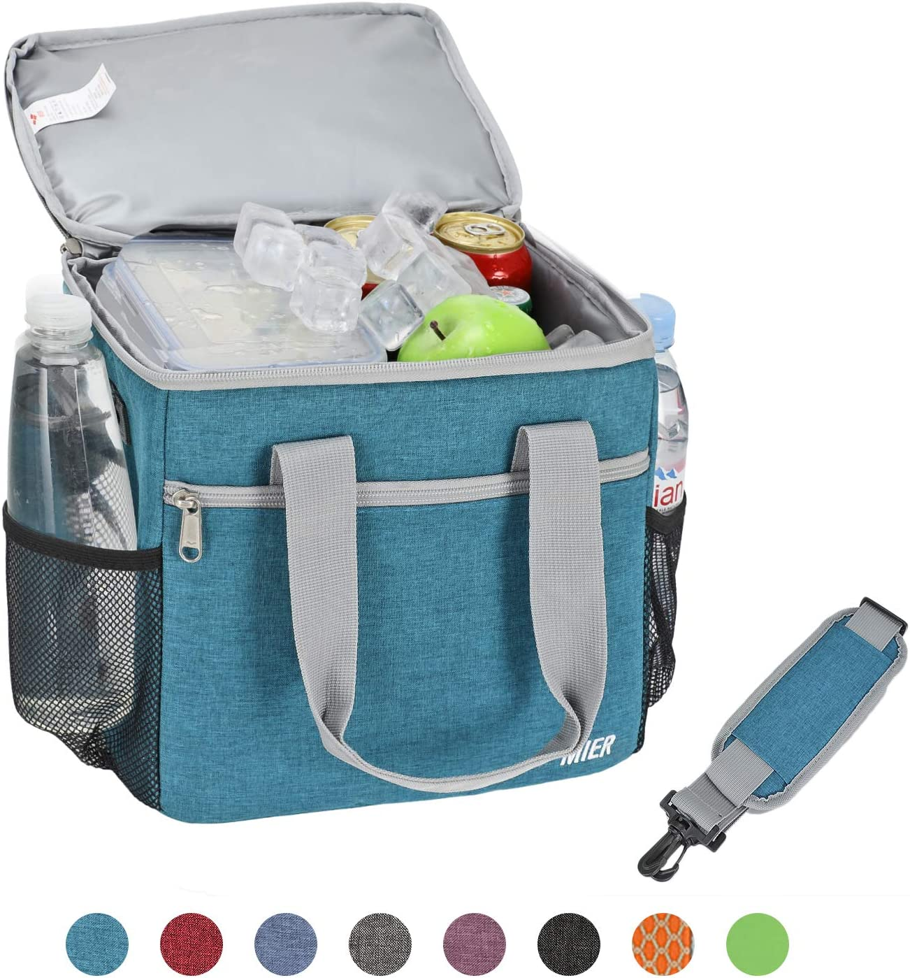 MIER 24 Can Large Capacity Soft Cooler Tote Insulated Lunch Bag Outdoor Picnic Bag,Ocean Blue