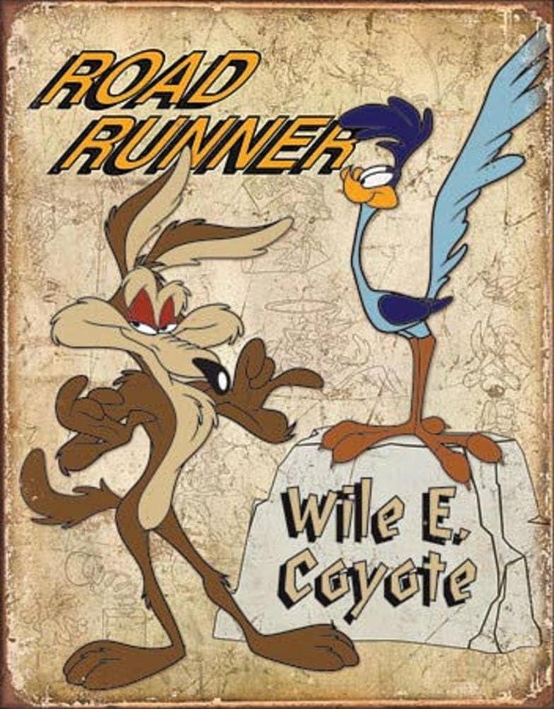 Plaque publicitaire m/étal Bip-Bip et coyote