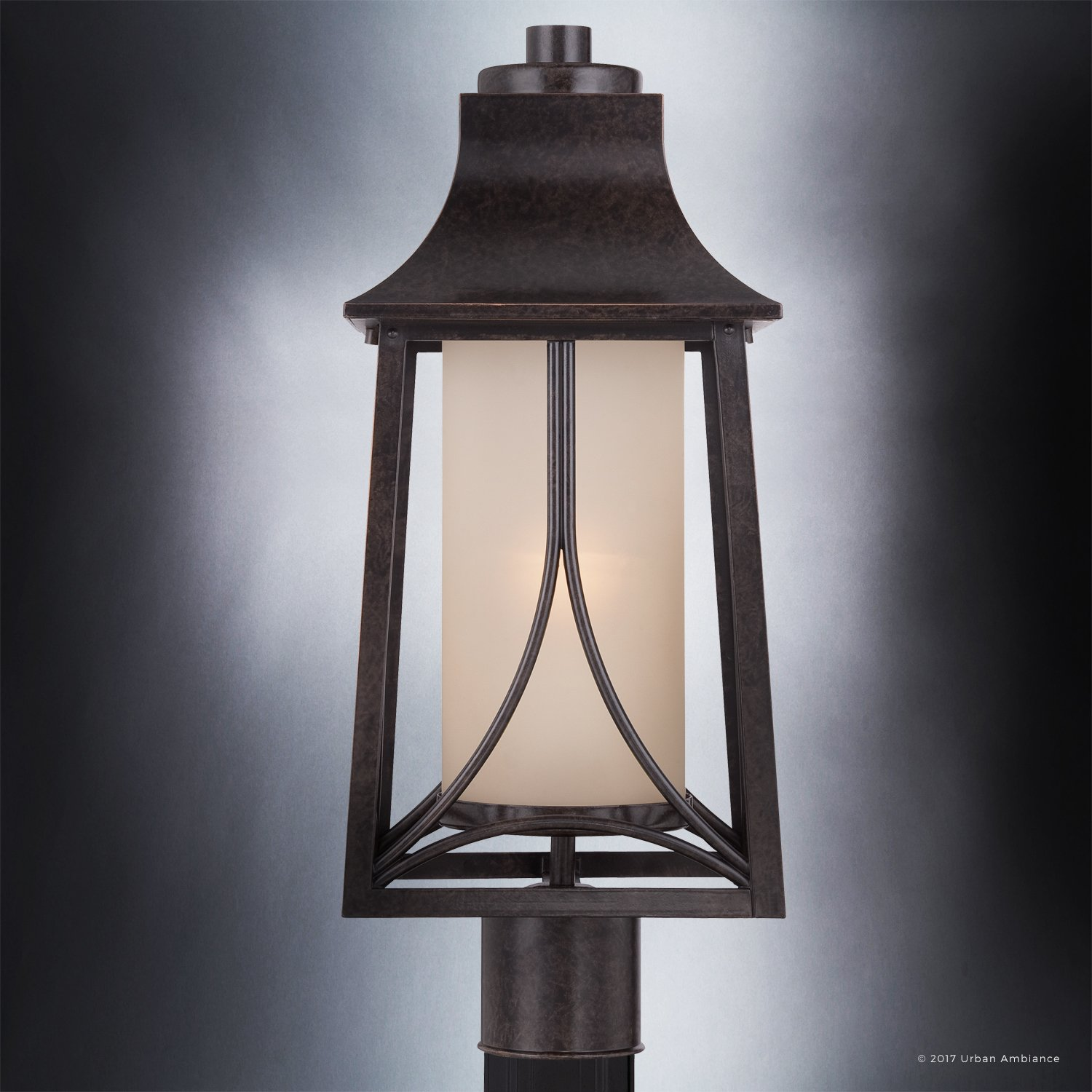 Luxury Asian Outdoor Post Light, Large Size: 21''H x 8.5''W, with Craftsman Style Elements, Airy and Simplistic Design, Beautiful Royal Bronze Finish and Light Amber Glass, UQL1083 by Urban Ambiance by Urban Ambiance (Image #5)