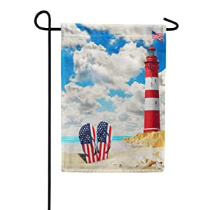 America Forever Patriotic Flip Flops Summer Garden Flag - American Beach Summer Patriotic Lighthouse Nautical Flag - Yard Outdoor Decorative Double Sided Flag - 12.5 x 18 Inches