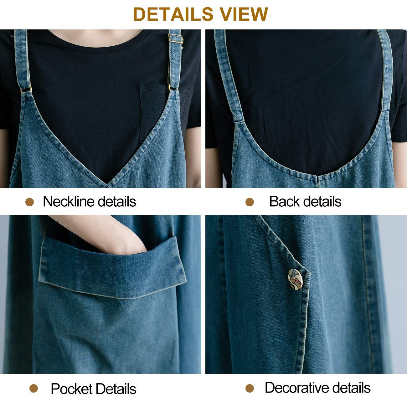 Innifer Womens Plus Size Suspender Strap A Line Denim Bib Jean Overall Dress