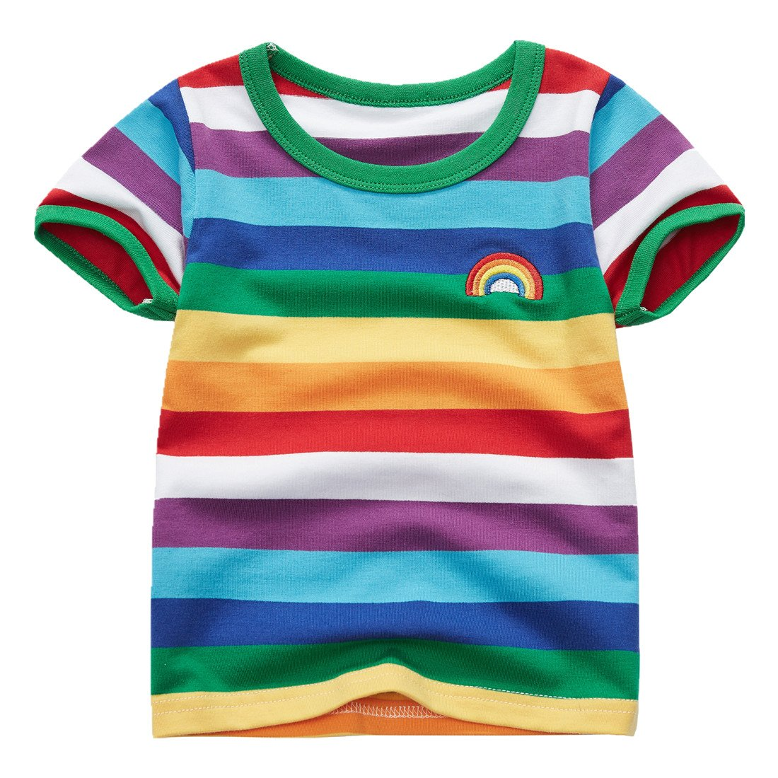 Sooxiwood Little Boys T-Shirt Rainbow Striped O-Neck