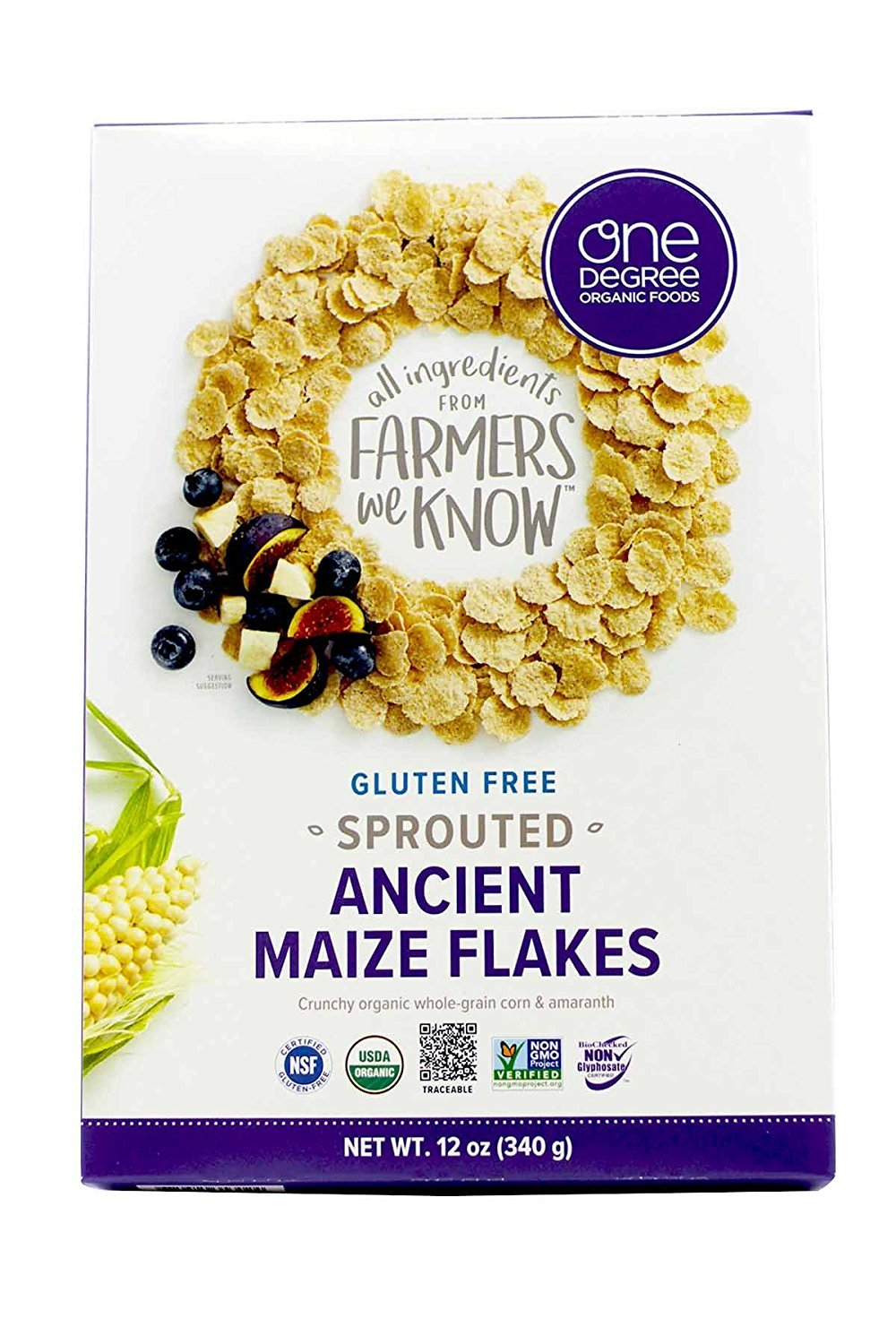 One Degree cereal Acient Maize Flake, 12 Oz, 6 Pack