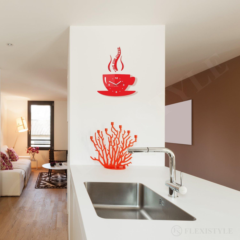 Horloge de cuisine moderne La Tasse silencieuse acrylique italien orange fabriqu/ée en UE