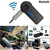Bluetooth and FM Transmitter ,Basda Wireless Bluetooth 3.5mm AUX Audio Stereo Music Home Car Receiver Adapter Mic (1 year warranty) (Black)
