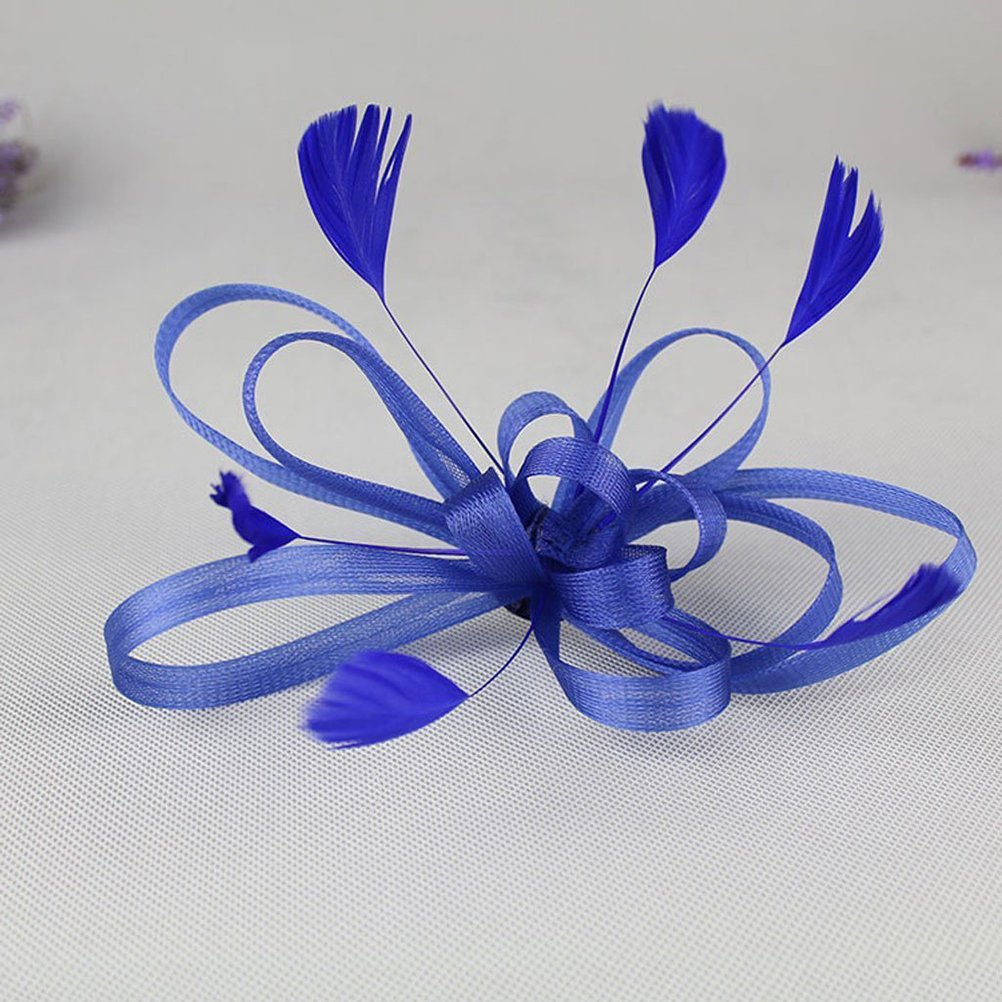 Navy Blue FENICAL Feather Hair Clips Wedding Bridal Fascinator Clip Accessory