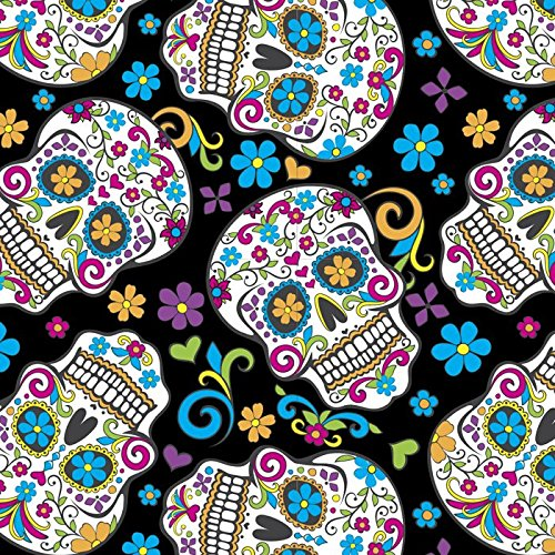 Folkloric Sugar Skulls Black Cotton Fabric by The