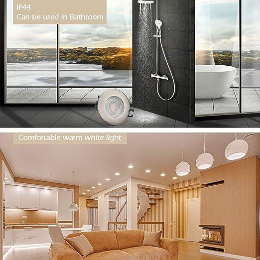 KYOTECH 6x marcos de montaje para,Foco empotrable techo,giratorios y ultraplanos para interiores,Con base GU10 para focos hal/ógenos y LED,Para dormitorio cocina sal/ón etc.