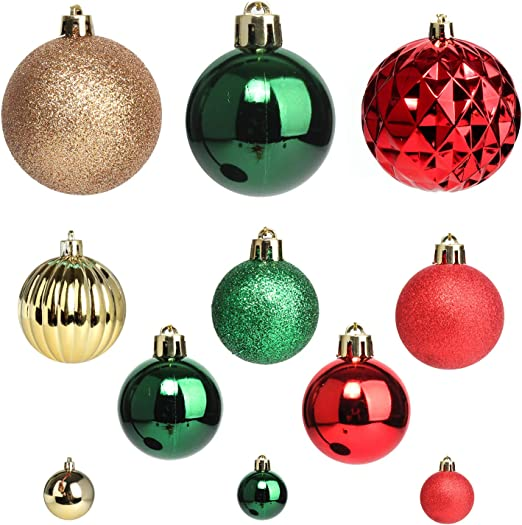 Red /& Green Set of 18 Assorted Wooden Christmas Hanging Tree Decorations