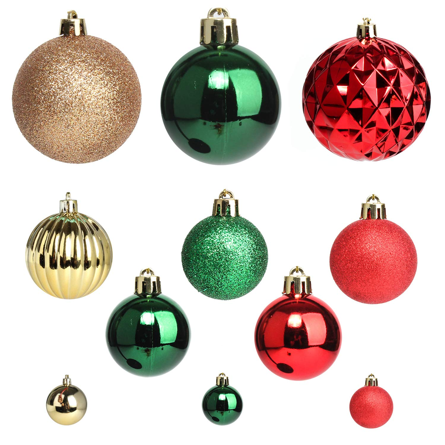 Christmas Tree Balls Decorations.Jusdreen Christmas Tree Hanging Balls Decoration Roping 50 Pcs Baubles Set Christmas Package Tree Ornament Red Gold Green