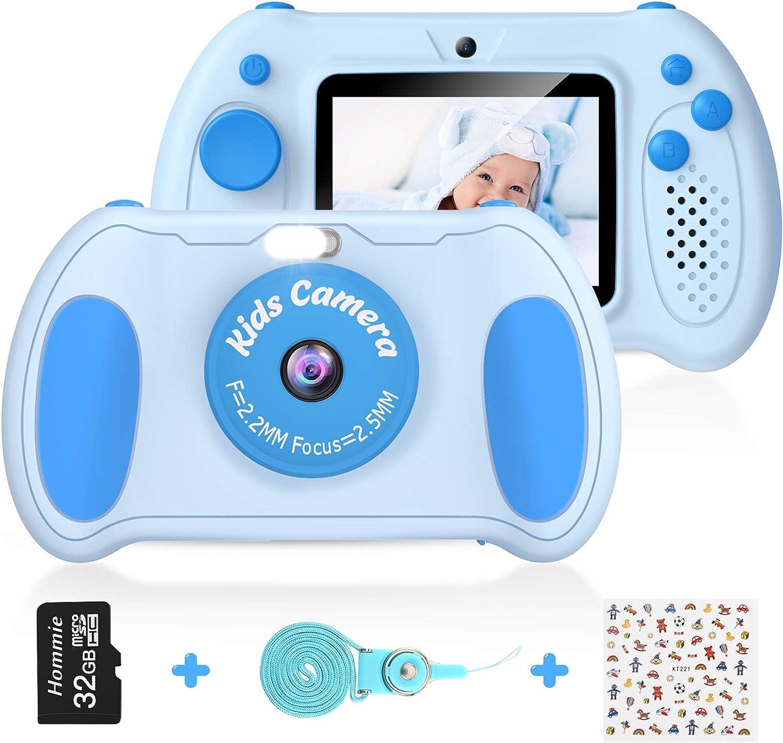 Cámara Digital para Niños, Hommie 32GB Camara Fotos Infantil de Doble Lente 1200MP/ 1080P con Speedlite, 3 Juegos y Reproductor MP3, Cámara para Niños de 2.4
