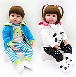 SO Cute Twins Reborn Baby Dolls 24 inch Soft Silicone Reborn Toddler Dolls Boy and Girl Life Like Real Baby's Feel Newborn Babies for Children 2 pcs (Frog & Panda)