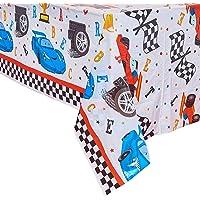 WERNNSAI Mantel de Carreras Rectangular - 132 x 220 cm Cubiertas de Mesa de Plástico Desechables para Niños Cumpleaños…