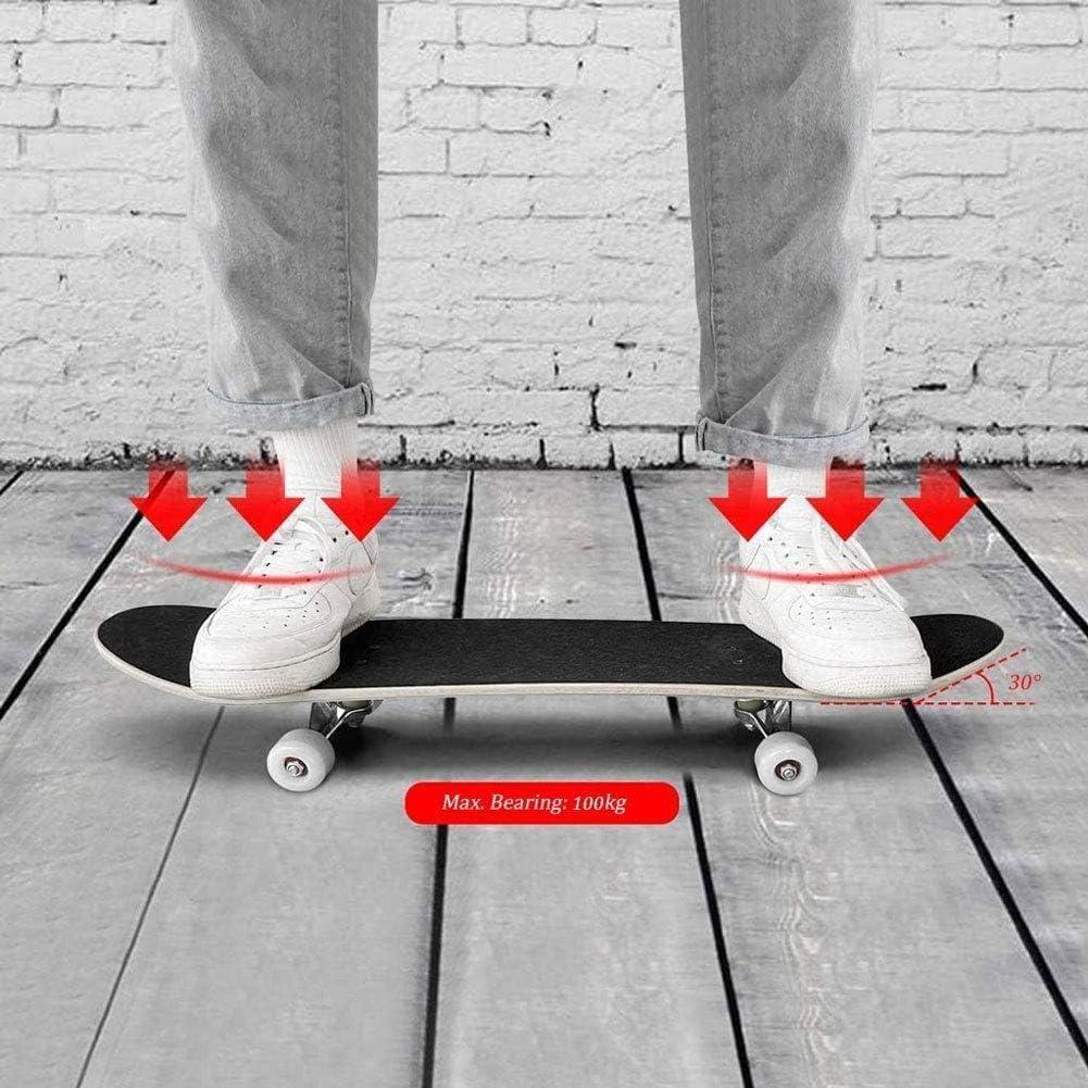 Soporte Negro Standard Tricks Skateboard Completo 31Patr/ón a Cuadros 7 Capas Maple Decks Tabla de Skate c/óncava de Doble Patada