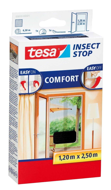 Tesa® Insect Stop Fliegengitter COMFORT m für Türen, anthrazit, durchsichtig, 1,20 m COMFORT x 2,50 m (4er Pack) 01decd