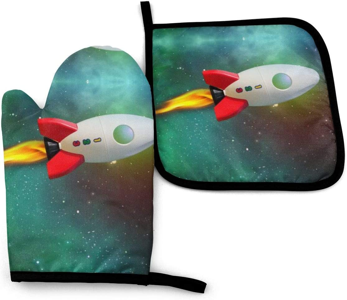 NOT Rocket Flight Path Universe Star Oven Mitts Pot Holders with The Heat Resistance for Baking Cooking BBQ