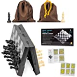 Travel Chess Set Magnetic Brisk Learner - Portable and Educational Kids Mini Toy Game - Foldable Board and 2 Cloth Bags…