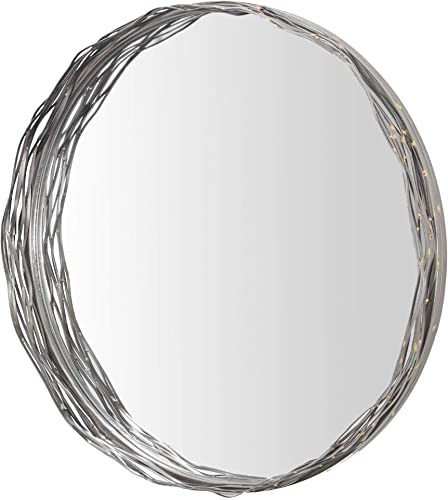 American Art Decor Decorative Metal Wall Vanity Accent Mirror 22 Silver