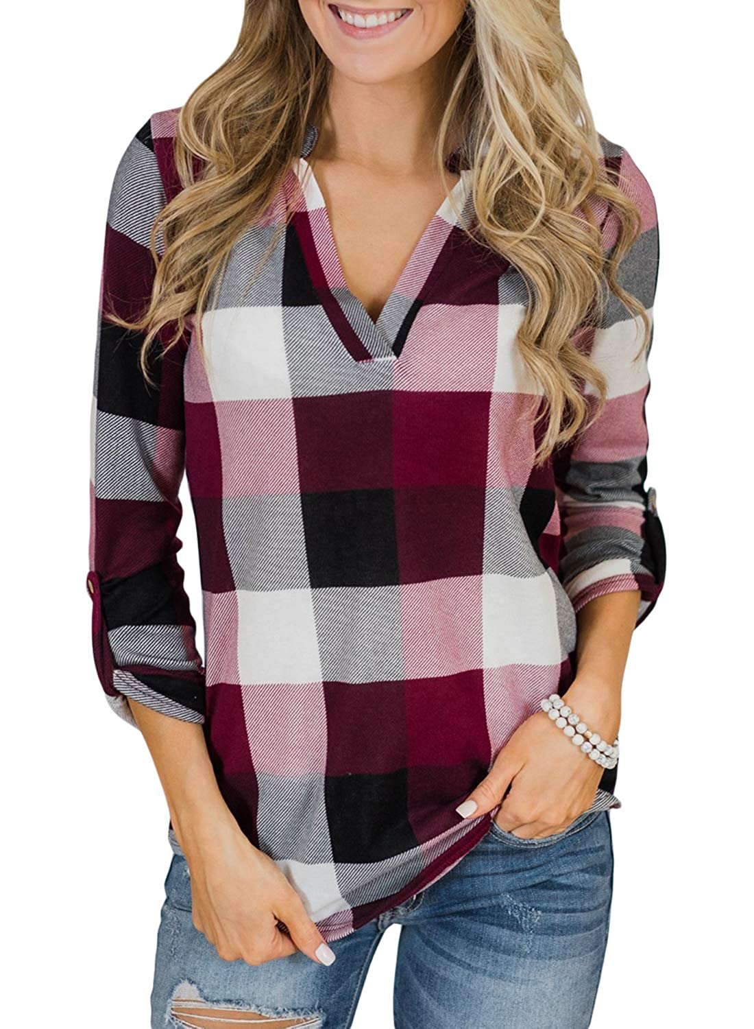 Astylish Women Casual Plaid V Neck 3 4 Long Sleeve Blouses Tops Shirts AH250454