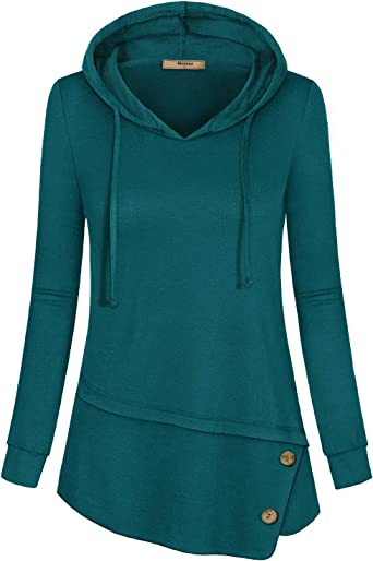 Miusey Womens Casual Tunic Hoodies Long Sleeve Shirts Pullover Sweatshirt Top