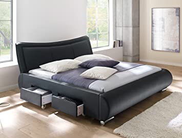 Polsterbett Schwarz Bett 180x200 Kunstleder 4x Schubkasten