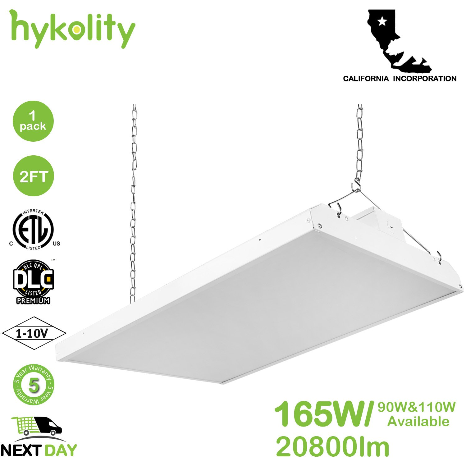 Hykolity 2FT LED High Bay Shop Light Fixture 165W [600W Fluorescent Equivalent] 21450lm 5000K Dimmable Commercial Grade Warehouse Area Indoor Industrial Lights DLC Premium 4.2 Certified