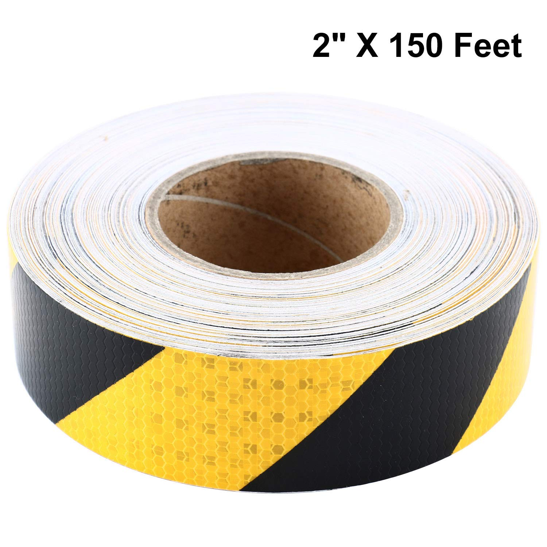 Homend 2'' X 150 Feet Reflective Hazard Caution Stripe Tape Yellow And Black Waterproof (2'' X 150 Feet)