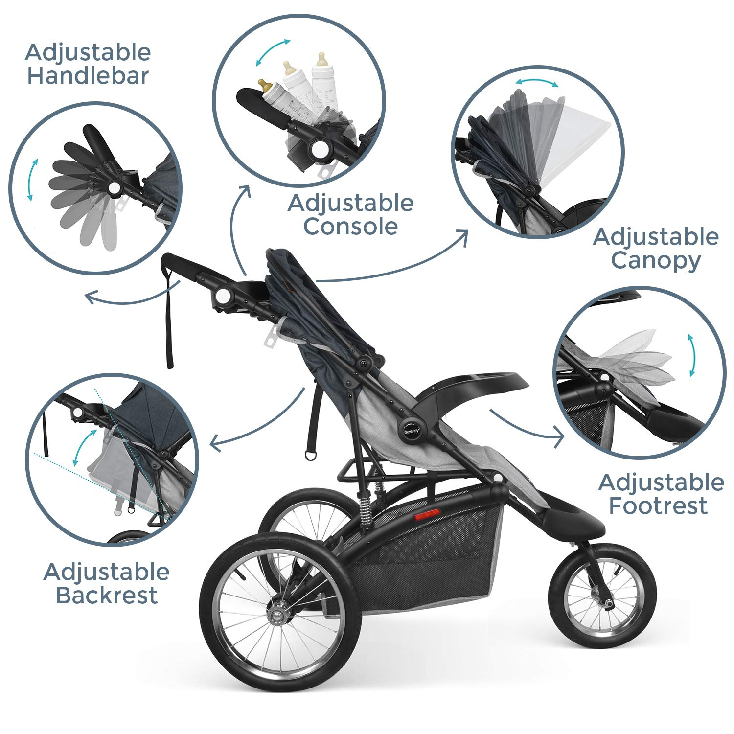 Besrey Jogger Stroller Sport Strollers Jogging Pushchair with 16 Inch Air-Filled Tire for Baby Comfort to Lie Down BR-C712S