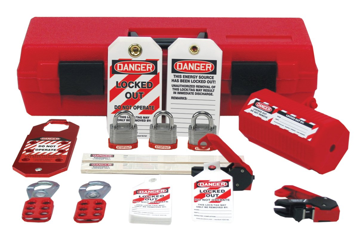 Accuform Signs KSK234 STOPOUT Standard Lockout Kit, Includes a Variety of Lockout Devices and Accessories in a Durable Plastic Box with Carry Handle, Red, 18'' Length x 6-1/2'' Width x 4-3/4'' Height