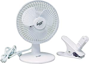 """Comfort Zone 6"""" Clip and Desk Fan Combo Pack, White"""