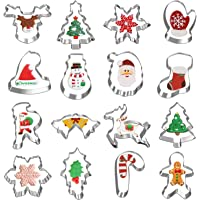 Christmas Cookie Cutters, Hibery 16-Piece Holiday Cookie Cutters Set with Gingerbread, Snowflake, Christmas Tree…