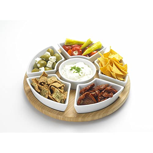 OCCASION Rotating Dip Set with Stoneware Serving Set