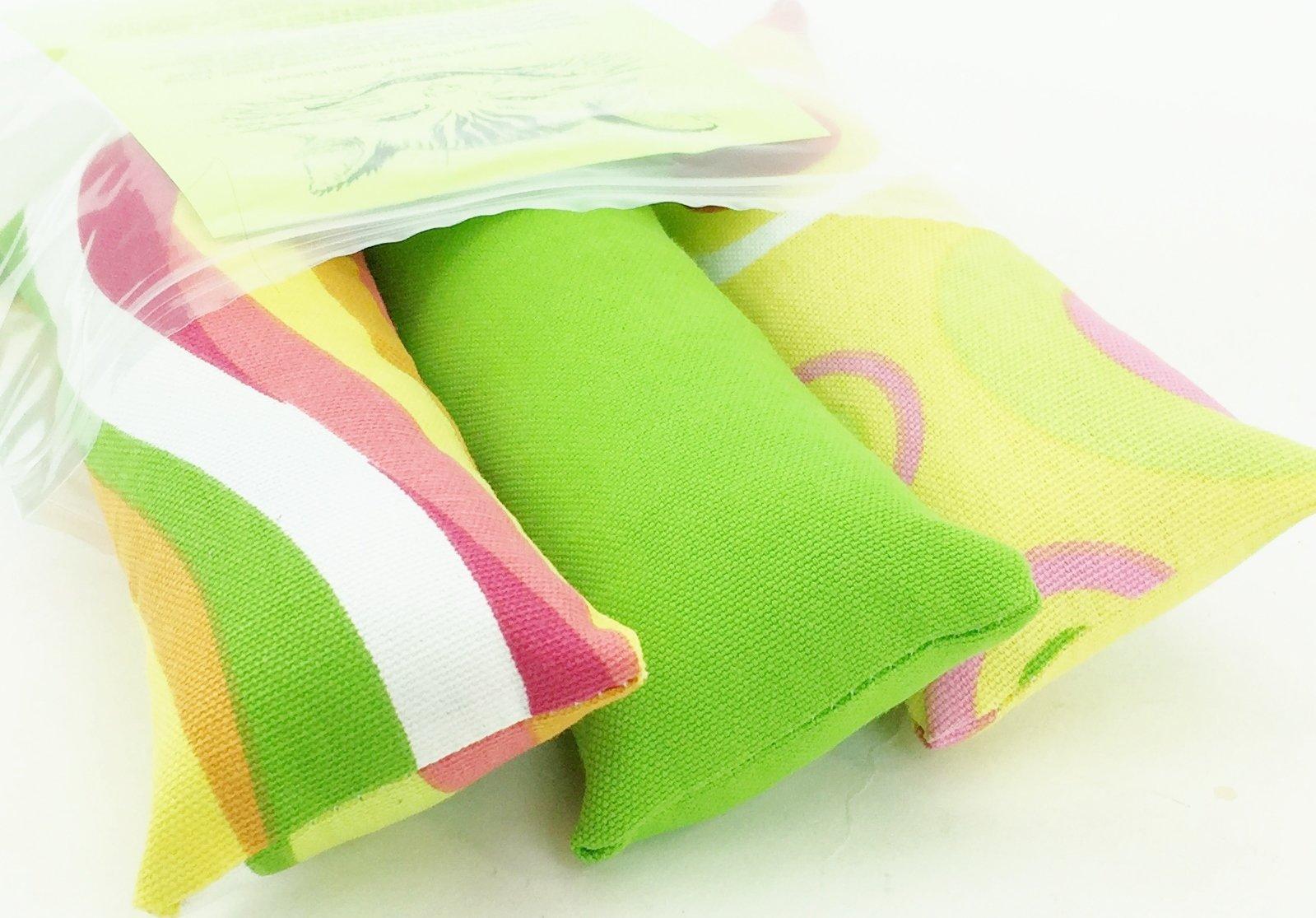 Spring Cat Toy Catnip Kickers 3 PACK organic catnip Green Yellow Pink Orange White designer home decor weight cotton fabric