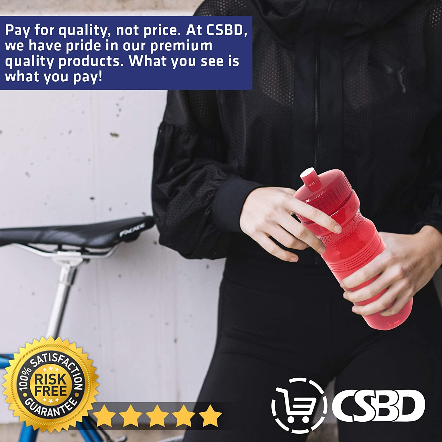 Made in USA CSBD Blank 24 oz Sports and Fitness Water Bottles BPA Free Bulk 10 Pack PET Plastic