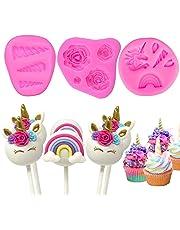 Witchs Magic House Molde de unicornio para decoración de tartas, diseño de unicornio con flores