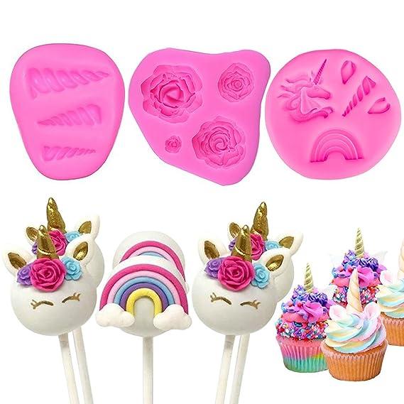 Witchs Magic House Molde de unicornio para decoración de tartas, diseño de unicornio con flores de unicornio, moldes de silicona para cupcakes: Amazon.es: ...