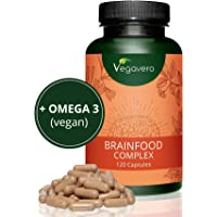 Integratore per CONCENTRAZIONE e MEMORIA Vegavero | con Omega 3 DHA vegan, Guaranà (Caffeina), Ginseng, Ginkgo e Vitamine gruppo B | Brainfood Complex | 120 capsule | Vegan