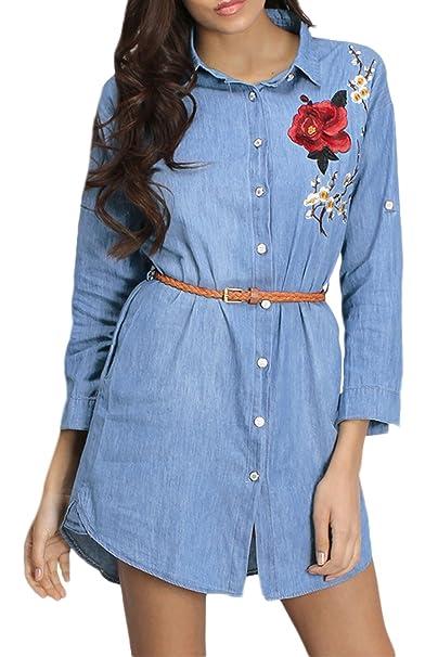 Túnica Vestido Mujer Camisas De Mezclilla Bordada Blusa Ceñida Blue L