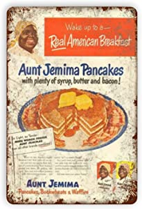 Aunt Jemima Pancakes American Breakfast Metal Tin Signs Reproduction, Vintage Wall Decor Retro Art Tin Sign Funny Decorations for Home Bar Pub Cafe Farm Room Metal Posters 8x12 Inch