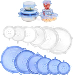 Silicone Stretch Lids, Bagvhandbagro 12PCS Reusable Silicone Covers for Bowls, Food Storage Covers Fit Various Sizes and Shapes of Containers, Keep Food Fresh,Dishwasher & Freezer Safe