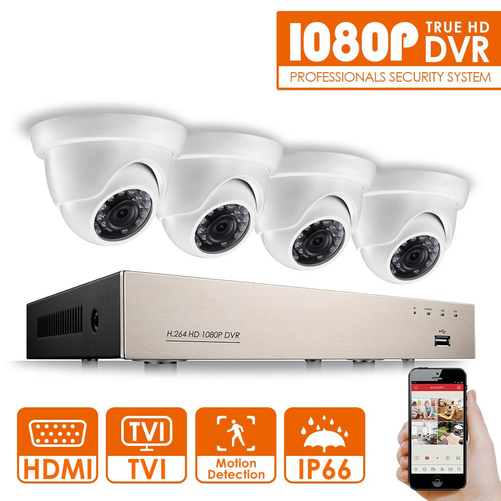 Anlapus Full High Definition 1080P Professional Security Camera System, 4 Channel 1080P HD-TVI DVR and (4) 2.0MP 1920TVL Waterproof Outdoor Indoor Dome Cameras with Motion Detection and Night Vision