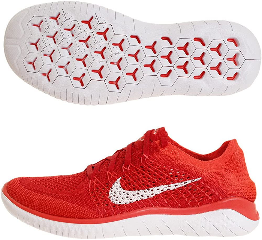 Nike Men s Free Rn Flyknit Running Shoe 9.5 M US, University Red White