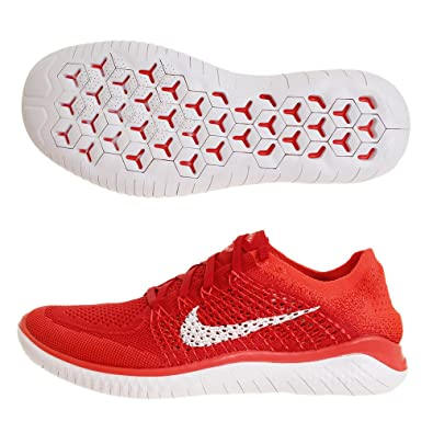 ec28f1e16292 Image Unavailable. Image not available for. Color  Nike Free RN Flyknit  2018 942838 601 University Red White Men s Running Shoes ...