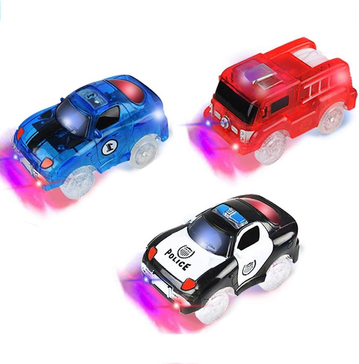 PROACC Track Race Car, Circuito Coches Juguete Niño, Coches Led Accesorios de Pista para Niños 3 4 5 6 Años (3 Coches)