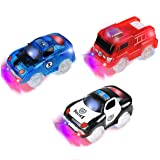 Track Cars, 3 Pack ( Racing Car, Police Car, Fire Truck Car ) with 5 LED Flashing Lights Magic Toys, Accessories Compatible with Most Tracks for Ages 3 4 5 6 7 Kids