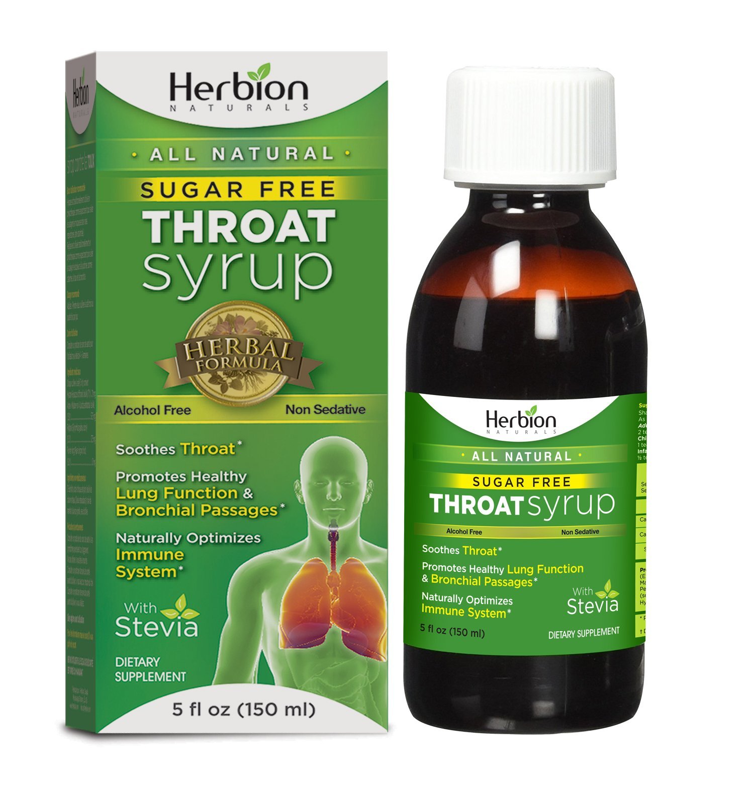 Herbion Naturals Sugar-Free Throat Syrup with Stevia, 5 fl oz - Naturally Tasty, Relieves Cough, Soothes Throat, Promotes Healthy Bronchial and Lung Function