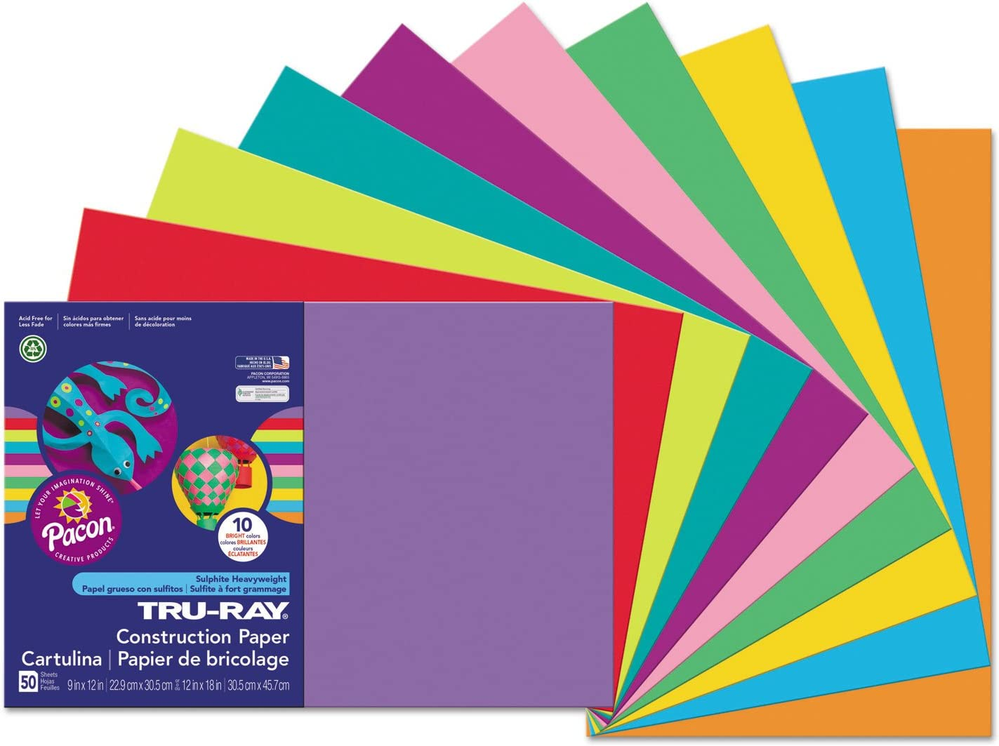 76 lbs 50 Sheets//Pack Pacon 103051 Pacon Tru-Ray Construction Paper 12 x 18 Purple