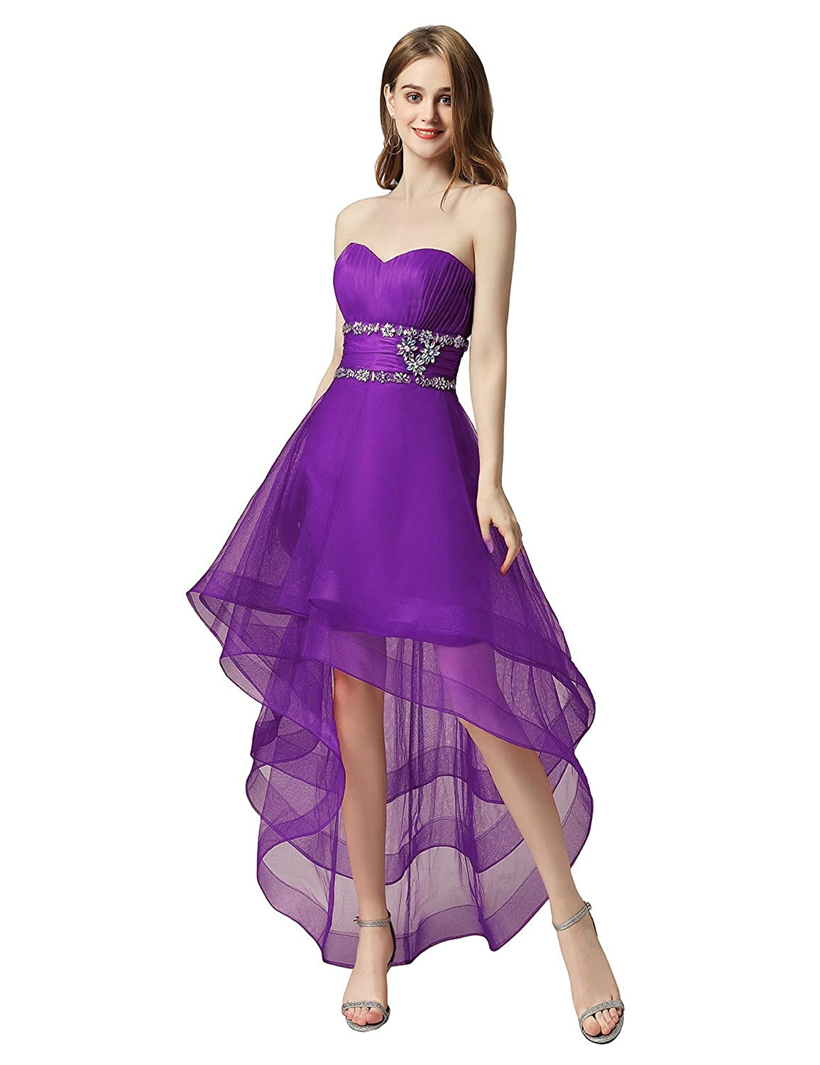 014purple Sarahbridal Women's Tulle HiLow Beading Prom Dresses Evening Homecoming Cocktail Gowns