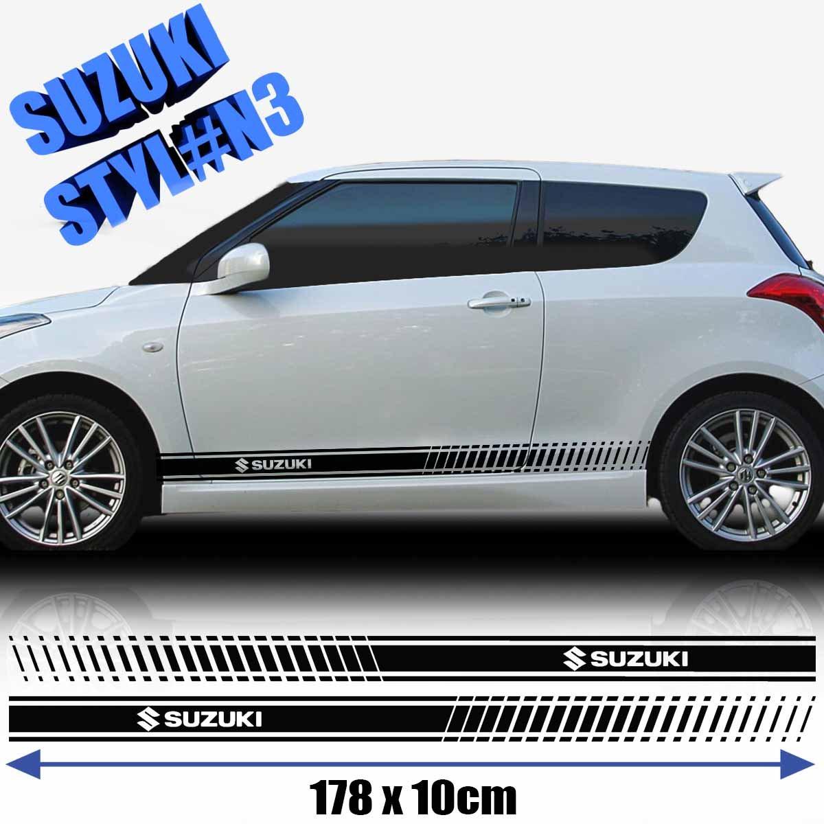 Suzuki swift sports side racing stripes decal graphics tuning car size 178x10 cm black amazon co uk car motorbike